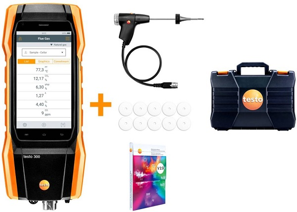 Testo 300 Commercial Flue Gas Analyser Standard Kit Contents